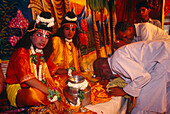 Religious theatre, temple feast, Sankat Mochan Temple, Varanasi, Benares Uttar Pradesh, India