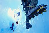 Ice climber on steep climb, Briksdal Glacier, Norway