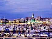 Townscape with marina, harbour, Palamós, Costa Brava, Province of Girona, Catalonia, Spain