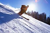 Skier sking downhill, Winter sport, Radstadt, Styria, Austria