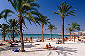 Sandy beach with palm trees, Beachlife, Patja de Palma, Arenal, Mallorca, Spain