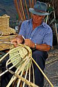 Basket maker, San Nicolas de Tolentino, Gran Canaria, Canary Islands, Spain
