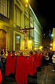 Praying at the Easter Prozession, Semana Santa, Las Palmas, Gran Canaria, Canary Islands, Spain