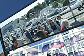 Scene, Stavanger, Norway, Scene on Skagen, Reflection in mirror for sunglasses, Rogaland