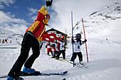 Ski Instructor with kids, Skischule, Wirl near Galtuer, Tyrol, Austria