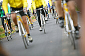 Close-up of legs, people on a cycle tour, Majorca, Balearic Islands, Spain
