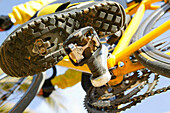 Close-up of bike shoes and spd pedals, Majorca, Balearic Islands, Spain