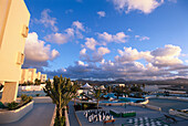 Pool area at sunset, Club La Santa, Lanzarote, Canary Islands, Spain