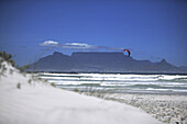 Kite Surfer, Bloubergstrand against Table Mountain, West Cape, South Africa