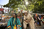 Trevor and Gavin, Two men with dreadlocks, Rastafari, at the Pan African market, Cape Town, Western Cape, South Africa, Africa