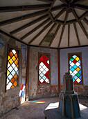 Moorish pavillion with stained glass windows, Raixa Manor, Bunyola, Majorca, Spain