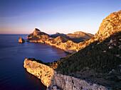 Cabo Fomentor, Cape Formentor, Isla Colomer, view from vista point Mirador dés Colomer, Serra de Tramuntana, Mallorca, Majorca, Balearic Islands, Mediterranean Sea, Spain