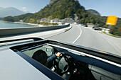 Car on alpine Road, Car on alpine road, Sylvenstein Storage Lake, Bavaria, Auto, Alpenstrasse, Damm des Sylvensteinstausee, Bayern, D