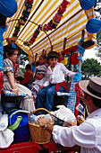 Pilgrims on an oxcart, Romeria de San Isidro, Nerja, Costa del Sol, Malaga province, Andalusia, Spain, Europe