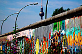 Wall of Berlin with graffiti and the television tower, Berlin, Berlin, Germany, Europe