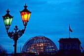 Reichstag dome behind lantern, berlin, germany