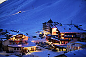 View of Kuehtai in the evening, Winter ski resort Kuehtai, Tyrol, Austria