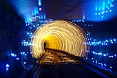 Interior view of the tunnel between Bund and Pudong, Shanghai, China, Asia