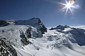 Rettenbachferner slope with Schwarze Schneid, skiing, Mittelbergferner, Soelden, Oetztal, Austria