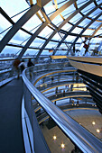 Glass dome of the Reichstag, indoors, Berlin, Germany