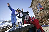 Guests having fun at the ski hut Camanel die Planon, Livigno, Italy