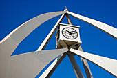 Clock tower under blue sky, Dubai, UAE, United Arab Emirates, Middle East, Asia
