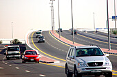 Cars on a highway, Dubai, UAE, United Arab Emirates, Middle East, Asia