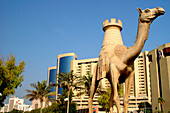 Sculpture and high rise buildings in the sunlight, Deira, Dubai, UAE, United Arab Emirates, Middle East, Asia