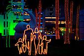 View at illuminated advertising at night, Dubai Shopping Festival, Dubai, UAE, United Arab Emirates, Middle East, Asia