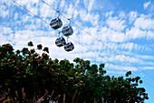 Cable cars under clouded sky, Creek Park, Dubai, UAE, United Arab Emirates, Middle East, Asia
