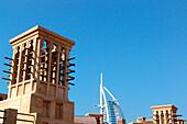 Burj al Arab hotel and wind towers in the sunlight, Dubai, UAE, United Arab Emirates, Middle East, Asia