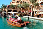 Traditional boat at harbour, Dubai, UAE, United Arab Emirates, Middle East, Asia