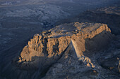 Aerial view of Masada, ancient palaces and fortifications on the top of an isolated rock plateau, Israel