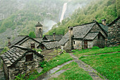 Stone houses in mountain village, Foroglio, Bavonstal, Ticino, Switzerland