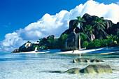 Küstenlandschaft mit Strand, Anse Source d´Argent, La Digue, Seychellen