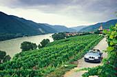 Rangtop driving along river Danube, Weissenkirchen, Wachau, Lower Austria, Austria