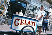 Man selling ice-cream, Lago Maggiore, Piedmont, Italy