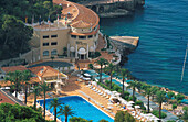 High angle view at Monte Carlo Beach Hotel and pool, Monaco, Cote d´Azur, Provence, France, Europe
