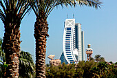 Palm tree and Jumeirah Beach hotel in the sunlight, Dubai, UAE, United Arab Emirates, Middle East, Asia