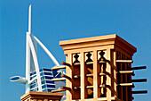 Burj al Arab hotel and wind tower in the sunlight, Dubai, UAE, United Arab Emirates, Middle East, Asia