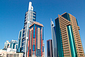Modern high rise buildings under blue sky, Sheik Zayed Road, Dubai, UAE, United Arab Emirates, Middle East, Asia