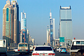 Cars on a highway and high rise buildings, Sheik Zayed Road, Dubai, UAE, United Arab Emirates, Middle East, Asia