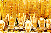 Golden jewellery at a souk at Deira, Dubai, UAE, United Arab Emirates, Middle East, Asia