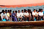 People on an Abra ferry, Dubai, UAE, United Arab Emirates, Middle East, Asia