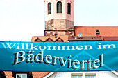 Bathhouses quarter, sign in front of the church, Baden-Baden, Baden-Wuerttemberg, Germany, Europe