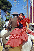 Feria del Caballo, Reiten, Jerez de la Frontera, Provinz Cadiz Andalusien, Spanien