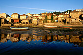 Seafront of Combarro wih Horreos, ancient warehouses, Ria de Pontevedra,  Rias Baixas, Province of Pontevedra, Galicia, Spain