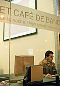 Internet cafe, madrid, spain