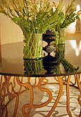 Vase on a table at Hotel Hesperia, Madrid, Spain, Europe