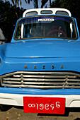 Old Mazda car, Yangon, small blue car, Rangun, Yangon, altes Auto, Burma